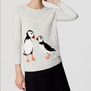 LOFT Penguin Kiss Gray Pufflin Pullover Sweater